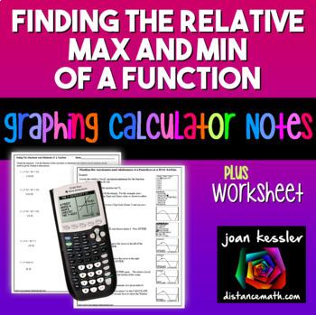 Relative Maximums and Minimums TI 83 TI 84 Graphing Calculator