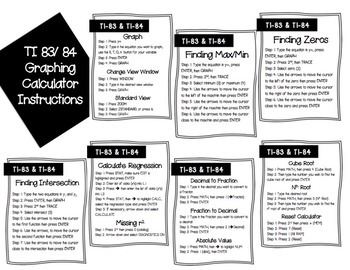 TI Graphing Calculator Instructions Posters and Handout (TI 83 and 84)