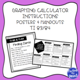 TI Graphing Calculator Instructions Posters and Handout (T