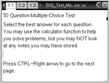 TI-NSpire 50 Question Multiple Choice Test Template
