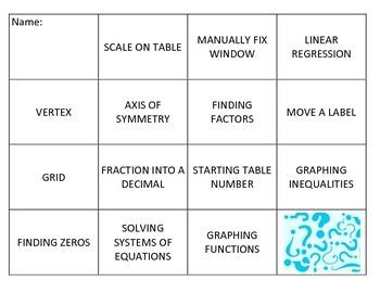 TI-Nspire Algebra 1 Matching Review