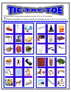 SPEECH THERAPY TIC-TAC-TOE GAME for /CH/ ARTICULATION PRACTICE