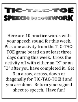 SPEECH THERAPY TIC-TAC-TOE GAME for /S/ BLEND ARTICULATION PRACTICE