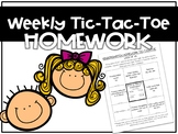 TIC TAC TOE Homework- Any Grade- Editable File