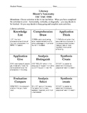 TIC-TAC-TOE Literacy Menu #2~Bloom's Taxonomy~ Use with any book or story