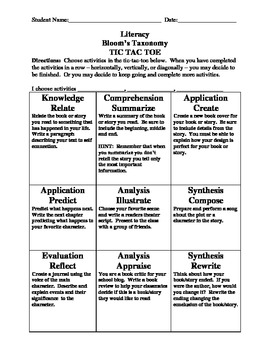 TIC- TAC- TOE Literacy Menu Incorporating Blooms Taxonomy~ Use with any book