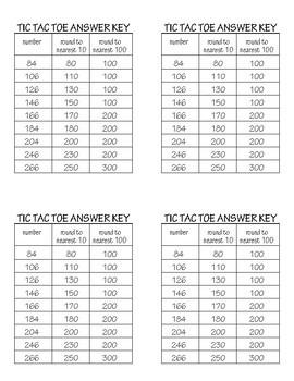 Rounding Numbers Tic Tac Toe