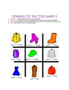 TIC TAC TOE SPANISH (2 GAMES) AND ANSWER KEY