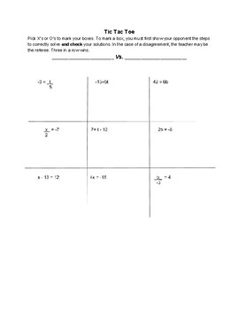 TIC TAC TOE Solve Simple One Step Equations