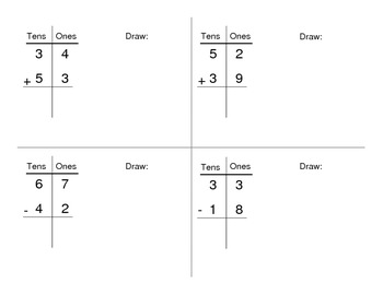 TIC TAC TOE, Solve in a Row: 2 Digit Addition and Subtraction