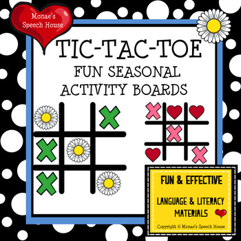 TIC TAC TOE Speech Therapy GAME BOARDS