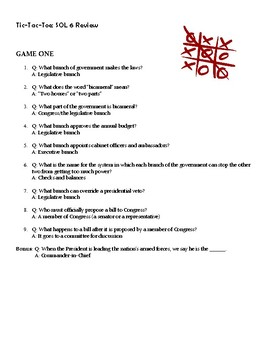 TIC TAC TOE! Virginia SOL CE.6 National Government Review Game