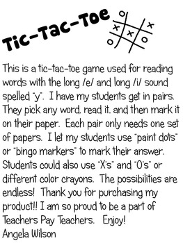 "TIC-TAC-TOE  ""Y"" as long /i/ and long /e/"