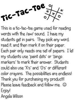 TIC TAC TOE /aw/