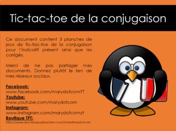 TIC-TAC-TOE de la conjugaison (indicatif présent)