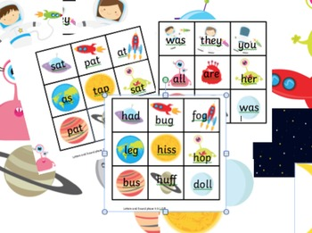 TIC TAC TOE decodable and tricky words Letters & Sounds phase 2-5