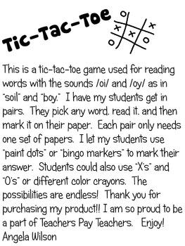 TIC TAC TOE /oi/ and /oy/