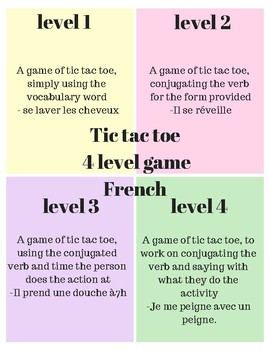 TIC TAC TOE reflexives French 4 level activity