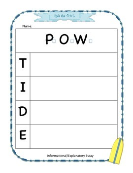 TIDE: Basic Graphic Organizer for Ride the TIDE SRSD writing