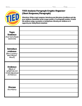 TIED Short Response (Paragraph) Packet w/Differentiation (5 pgs)