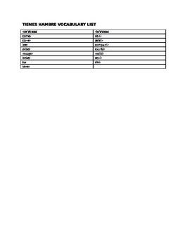 TIENES HAMBRE VOCAB LIST (COLORING ACTIVITY)