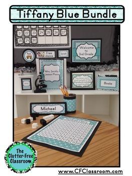 TIFFANY BLUE PATTERNS Classroom Decor - EDITABLE Clutter-Free Classroom Decor