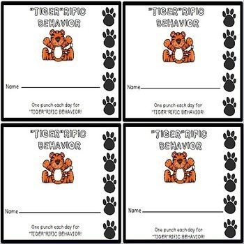 Tigers Classroom Punch Cards