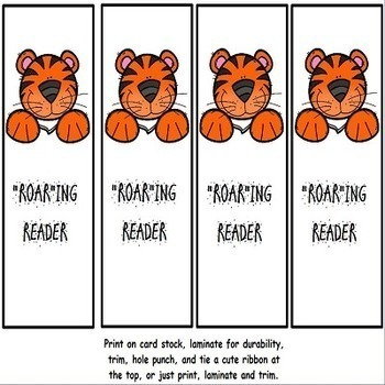 TIGERS Growth Mindset Book Marks