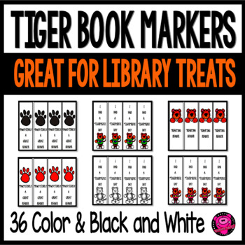 36 Tiger Theme Book Markers for Rewards in Schools and Classrooms