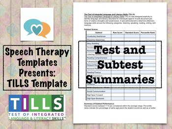 TILLS Template | Speech Therapy Assessment
