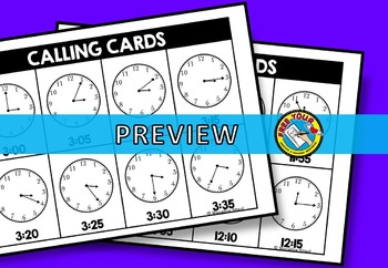TELLING TIME GAME (TIME BINGO) TIME TO 5 MINUTES GAME (TIME ACTIVITIES)