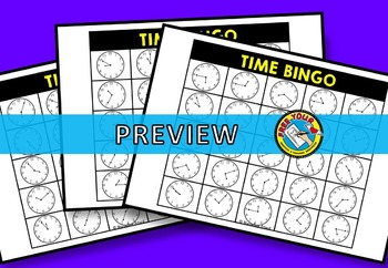 TELLING TIME TO THE NEAREST 5 MINUTES BINGO GAME ACTIVITY