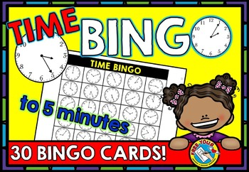 TIME GAME: TIME BINGO: TIME TO 5 MINUTES GAME: TIME ACTIVITIES