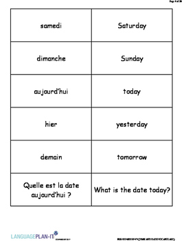 TIME AND DATE VOCABULARY LIST WITH FLASHCARDS (FRENCH)