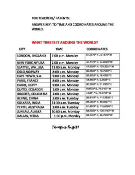 TIME AROUND THE GLOBE: A GEOGRAPHY ACTIVITY
