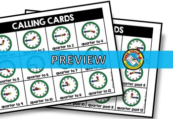 TELLING TIME ACTIVITY (TIME BINGO GAME) TIME TO THE QUARTER HOUR (TIME GAME)