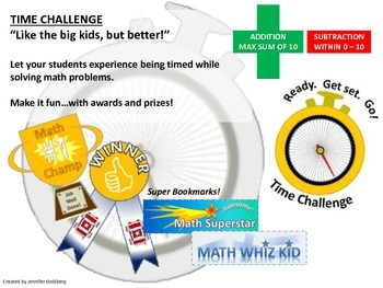 TIME CHALLENGE: Addition/Subtraction Worksheets, 0-10, 1st Grade CCS