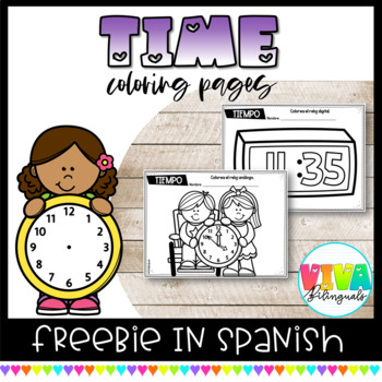 TIME COLORING PAGES FREEBIE IN SPANISH