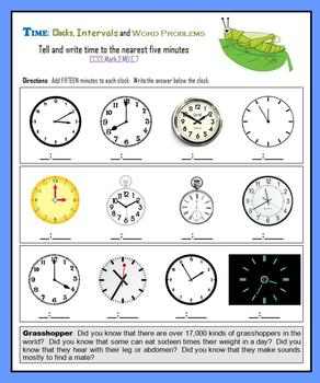 Telling Time:  Clocks, Intervals and Word Problems
