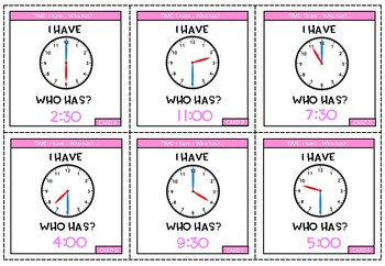 TIME - I have... who has?... (hour & half past times)