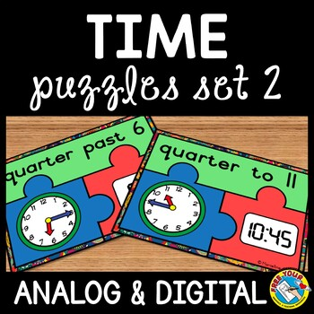 TELLING TIME ACTIVITIES(QUARTER HOUR): TIME PUZZLES(ANALOG