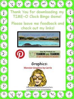 TIME O Bingo CCSS 2.MD.7