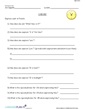 TIME PRACTICE 12 HOUR (FRENCH)