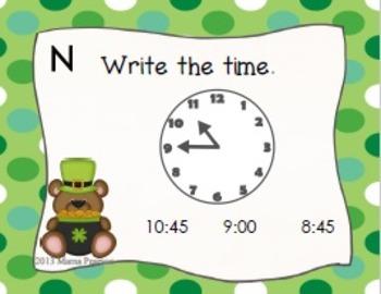 St. Patrick's Day Time (Quarter Til and Past) Task Cards