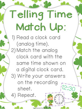 St. Patrick's Day Telling Time Math Center