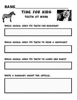 TIME for kids Teeth At Work Activity Packet!