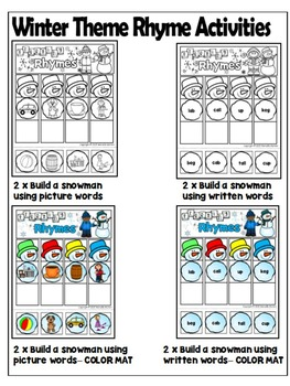 Rhyming Activities and Printables-TIME to RHYME- Rhymes for every Season