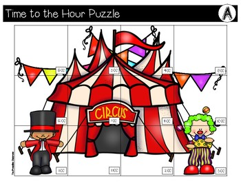 TIME to the Hour and Half Hour File Folder Puzzles Circus Theme