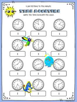 TIME to the Minute MATH STATIONS