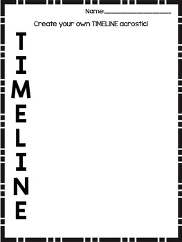 TIMELINE Acrostic Poster Activity